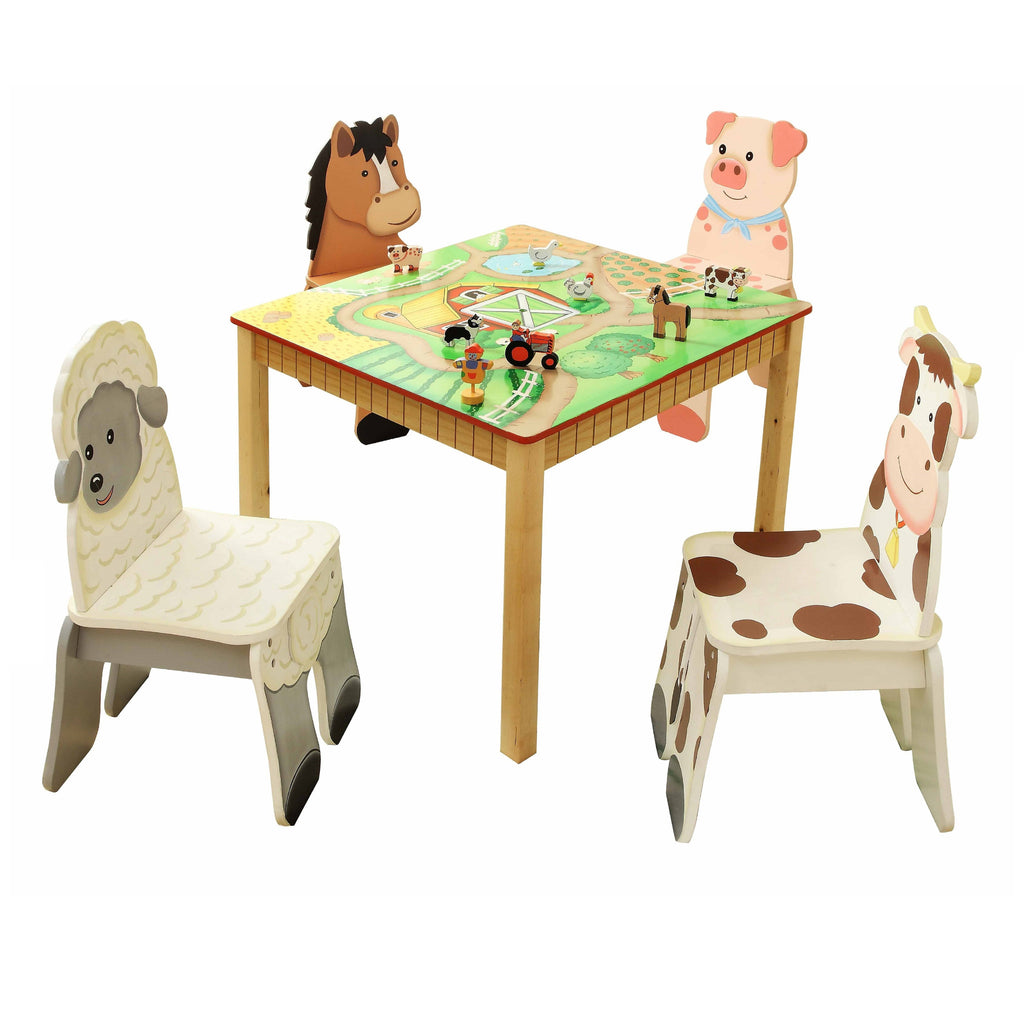 Fantasy Fields Childrens Happy Farm Themed Hand Crafted Kids Wooden Table |  EBay