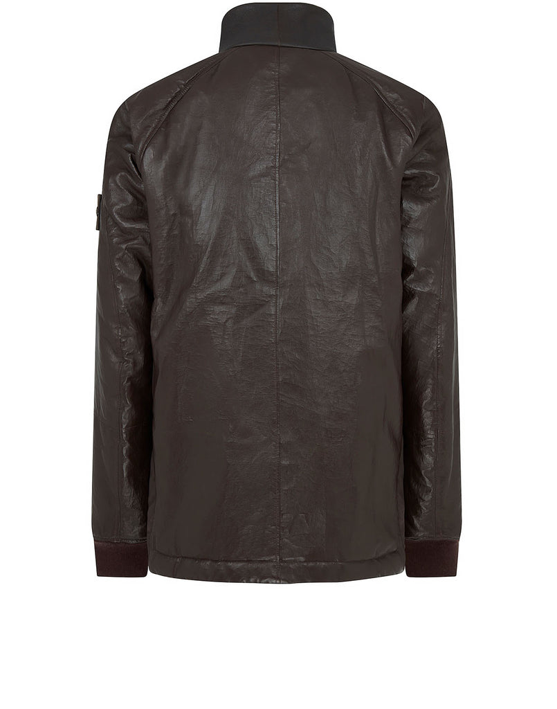 002F3 FEATHERWEIGHT LEATHER WITH STRETCH WOOL NYLON DOWN GHOST PIECE: Blouson in Dark Brown