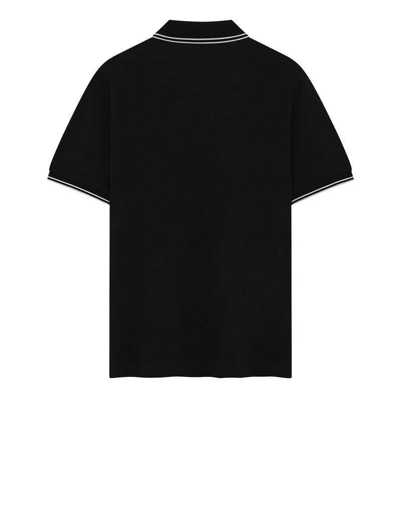 22S18 Stretch Cotton Pique Polo Shirt in Black