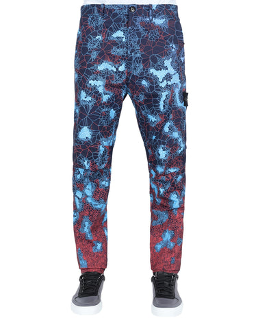 320E1 PRINTED HEAT REACTIVE_THERMOSENSITIVE FABRIC Trousers in Navy Blue
