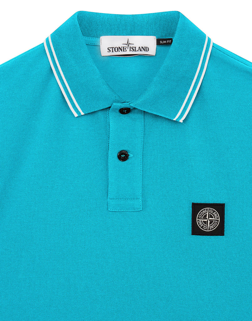 22S18 Stretch Cotton Pique Polo Shirt in Turquoise