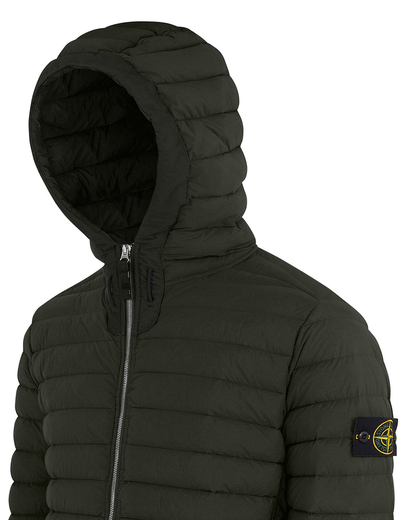 41125 LOOM WOVEN DOWN CHAMBERS STRETCH NYLON-TC: Hooded Down Blouson in Dark Forest