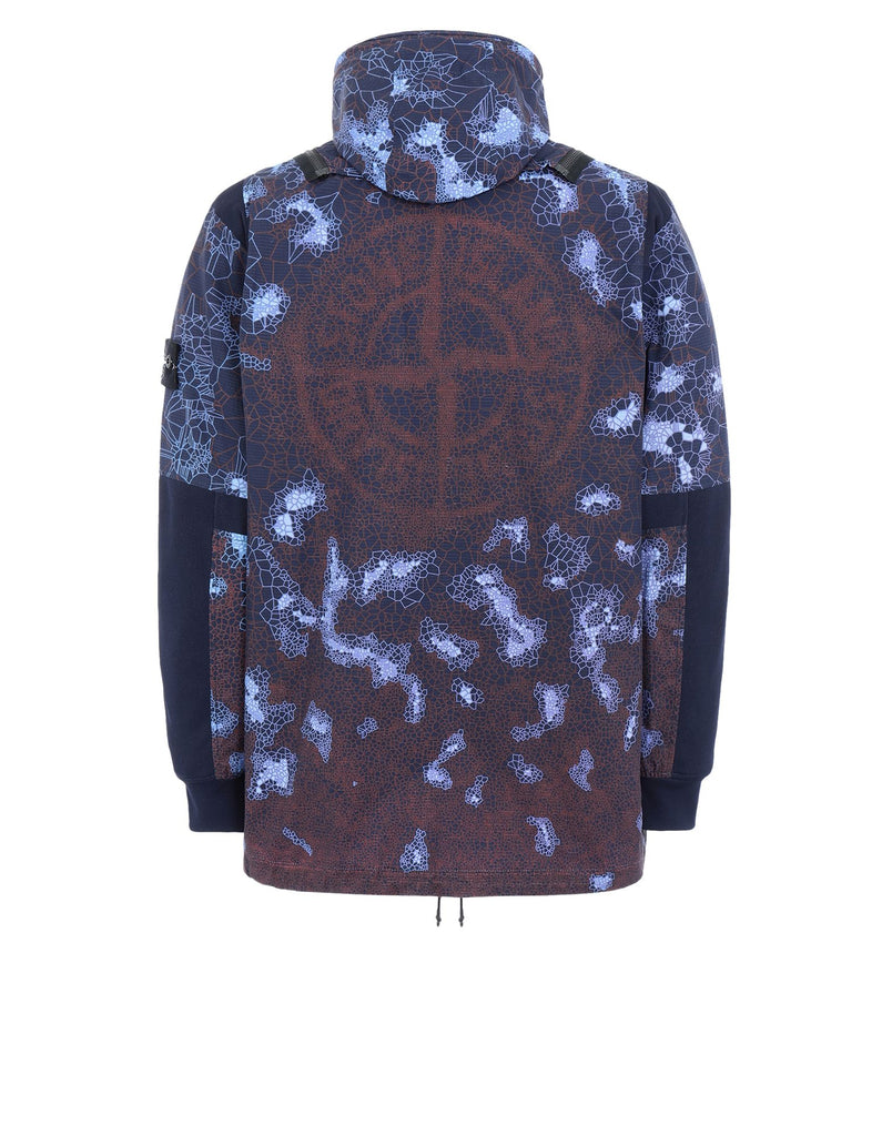 449E1 PRINTED HEAT REACTIVE_THERMOSENSITIVE FABRIC Jacket in Navy Blue