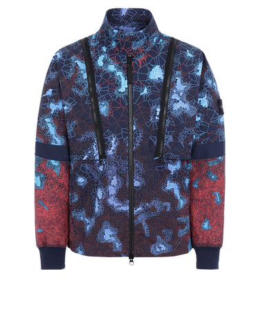 448E1 PRINTED HEAT REACTIVE_THERMOSENSITIVE FABRIC Jacket in Navy Blue