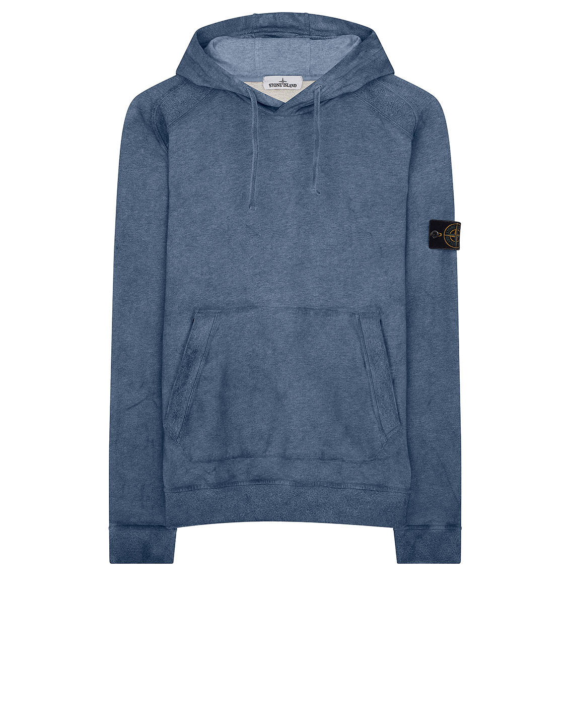 62090 Dust Colour Mélange Cotton Fleece Hooded Sweatshirt in Periwinkle