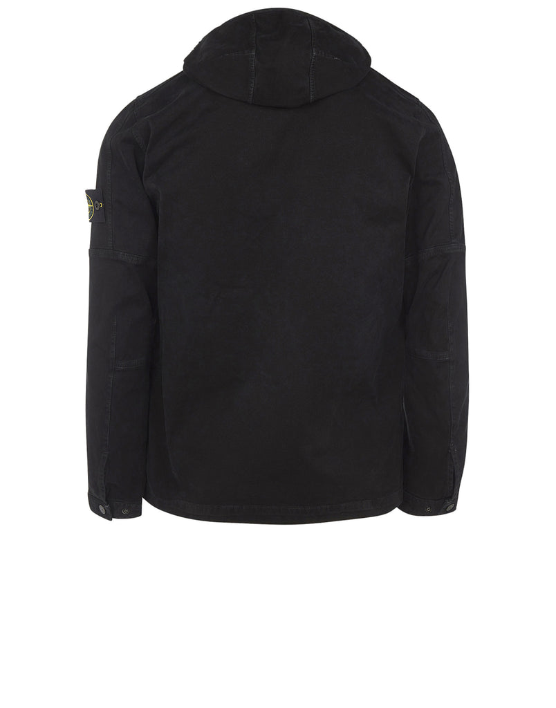 109LN OLD Effect Hooded Overshirt in Black