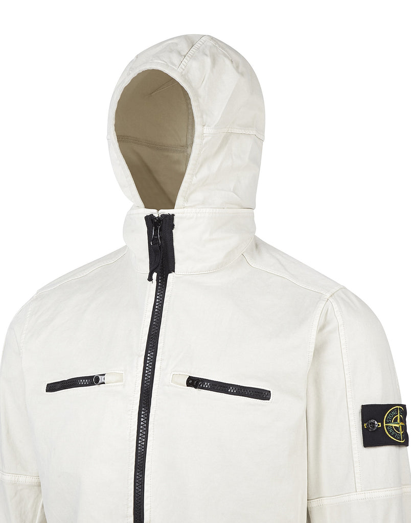 109LN OLD Effect Hooded Overshirt in White