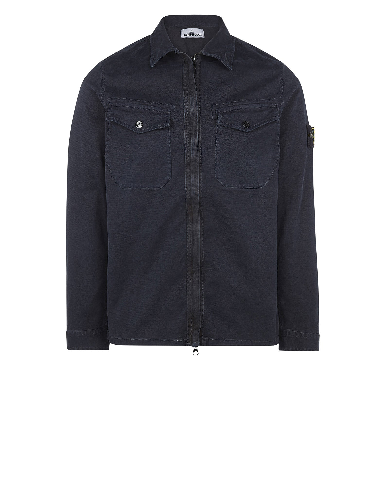 115LN OLD Effect Overshirt in Navy Blue