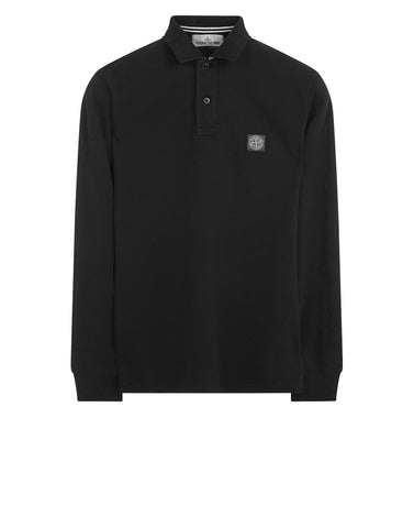 2CC15 Cotton Pique Long Sleeve Polo Shirt in Black