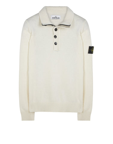 508A3 Lambswool Half Button Knit in White