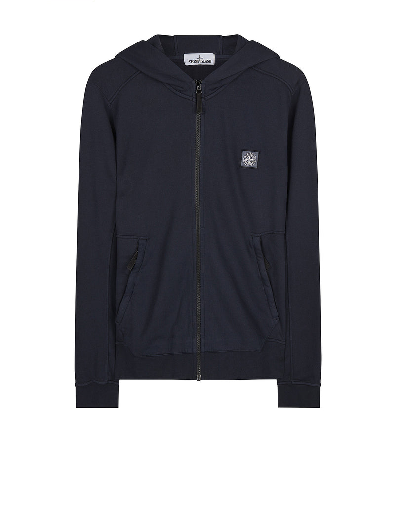 61251 Fleece Hooded Zip Jacket in Blue