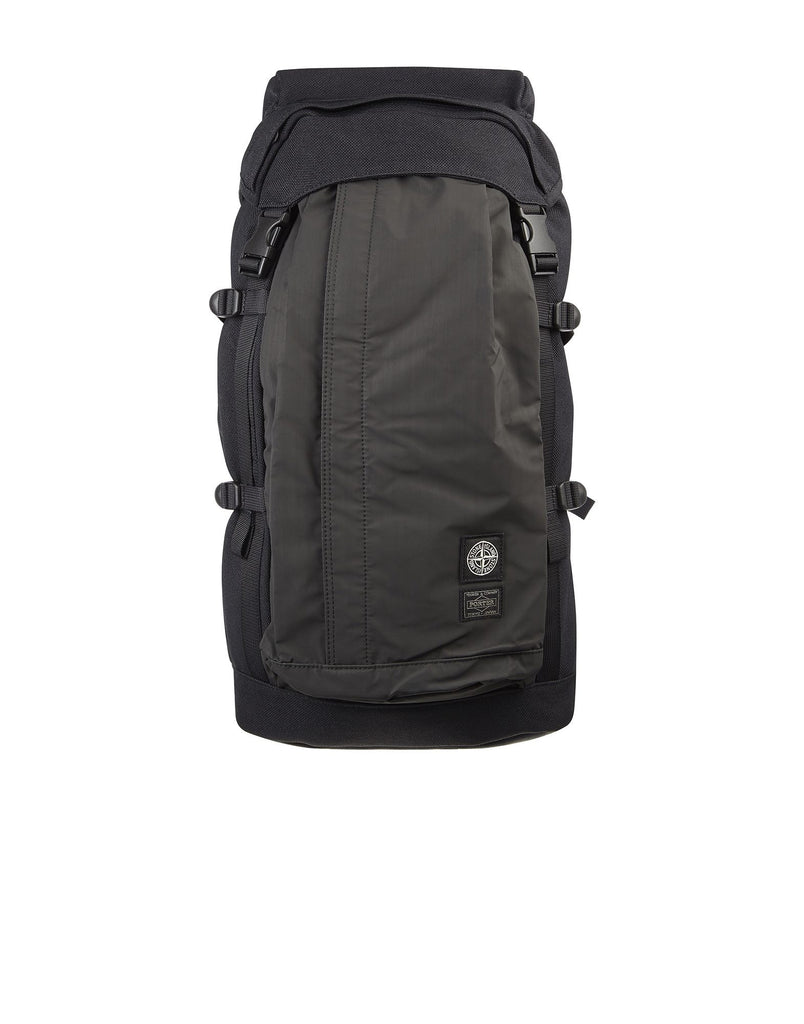 9146 5STONE ISLAND/PORTER® CANVAS DI NYLON/HIDDEN REFLECTIVE Bag in Black