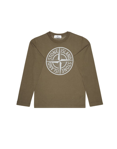 21152 Long Sleeve Compass Logo T-Shirt in Khaki