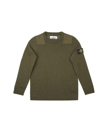 512D4 Crew Neck Military Style Jumper in Khaki Green