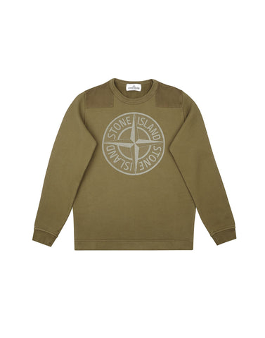 60940 Cotton Compass Logo Sweatshirt in Khaki Green
