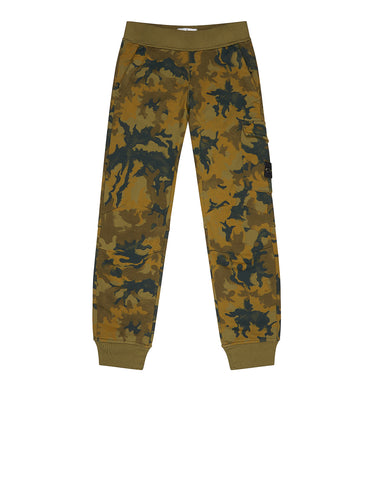 63160 Garment-Dyed Cotton Fleece Camo Track Pants in Green