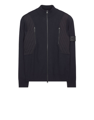 501A6 TACTICAL TRACK JACKET _ STRETCH WOOL WITH INTARSIA in Navy