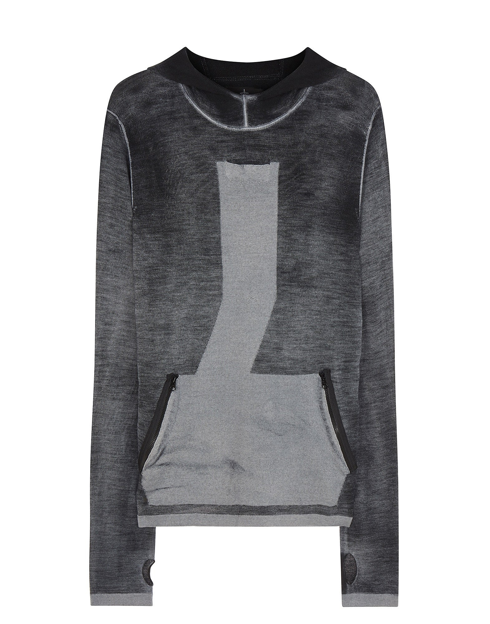 503A4 TELEPORT HOODIE _ JAQUARD PURE WOOL WITH INNER AIRBRUSH TREATMENT in Grey