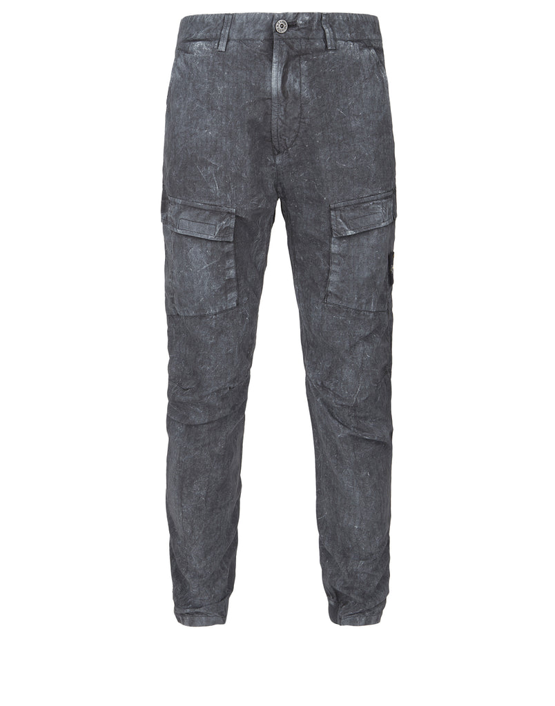 310J1 SI HOUSE CHECK GRID TELA WITH DUST COLOUR TREATMENT Trousers in Grey