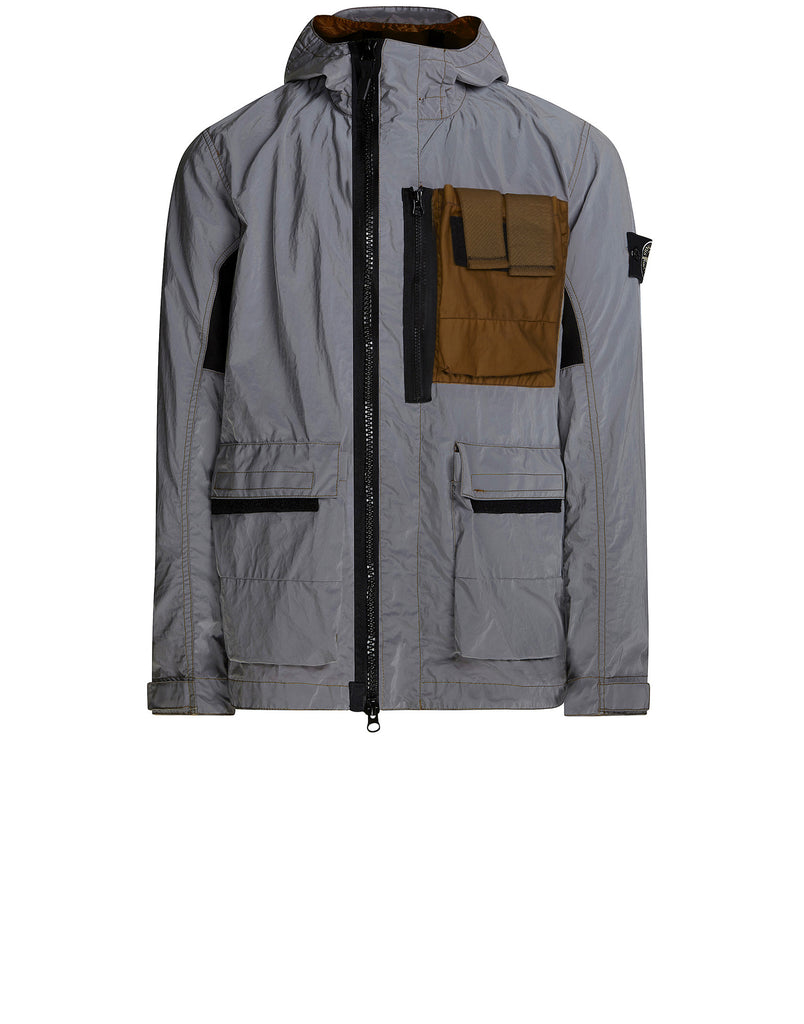 453S6 GARMENT DYED PLATED REFLECTIVE WITH MUSSOLA GOMMATA Jacket in Khaki