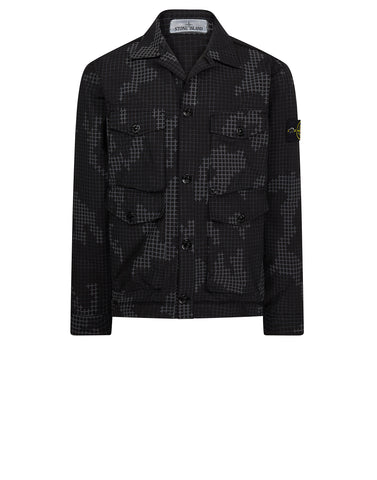 112E3 FULL COMPACT RIP STOP GRID CAMO Overshirt in Black