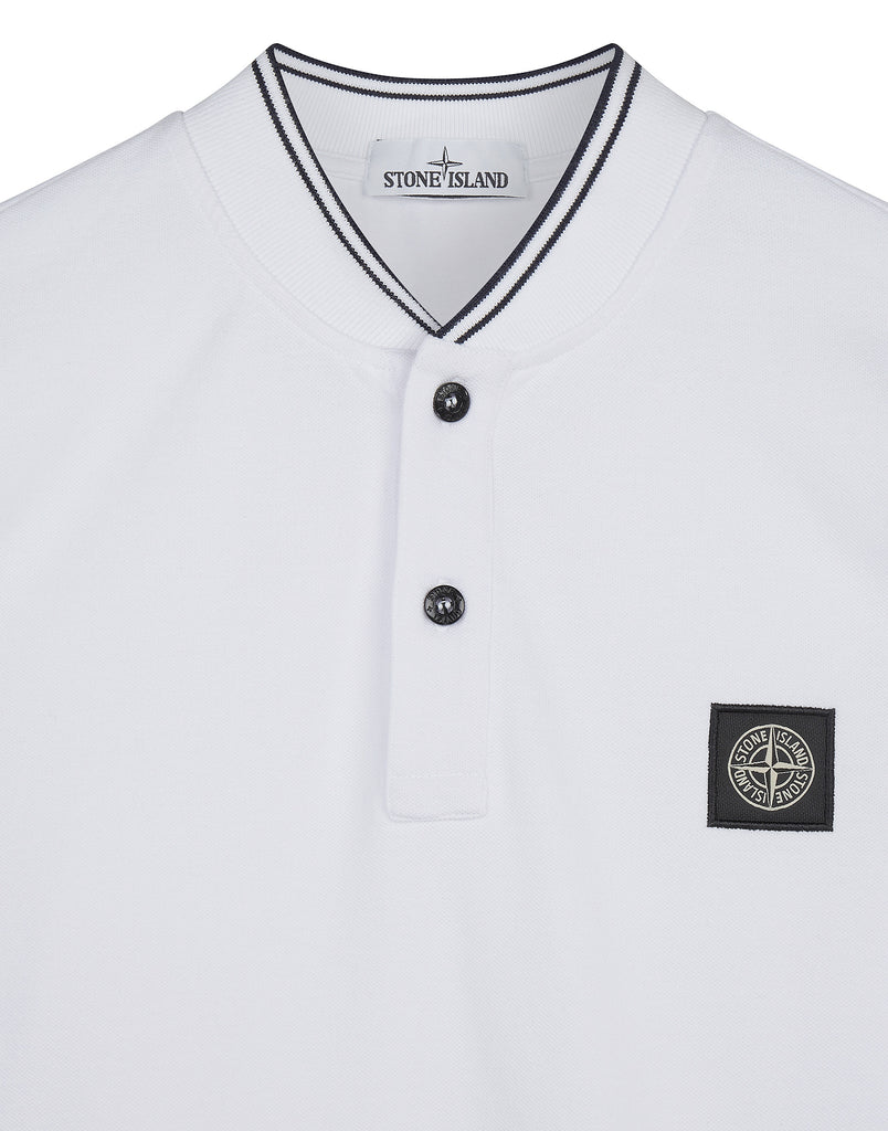 21518 Long Sleeve Stretch Pique Polo in White