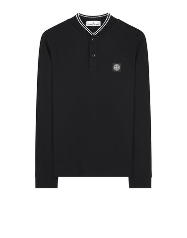 21518 Long Sleeve Stretch Pique Polo in Black