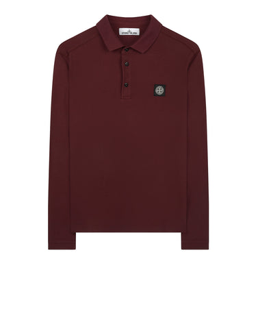 22018 Stretch Cotton Long Sleeve Polo Shirt in Burgundy