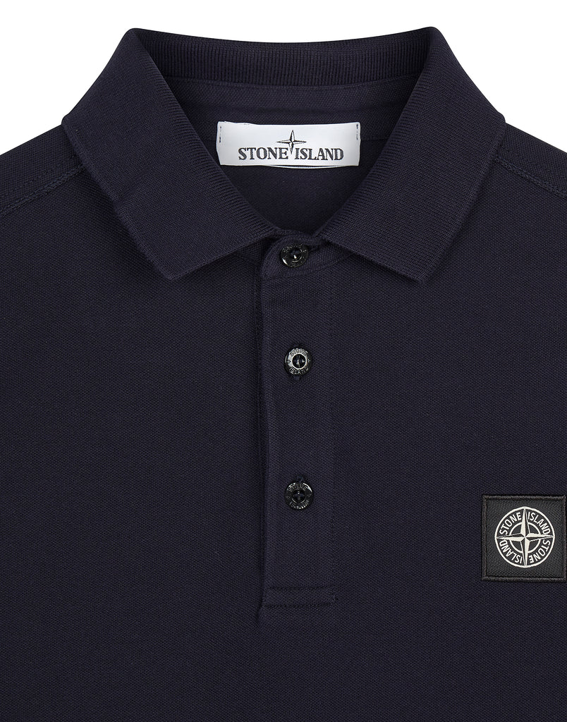 22018 Stretch Cotton Long Sleeve Polo Shirt in Navy