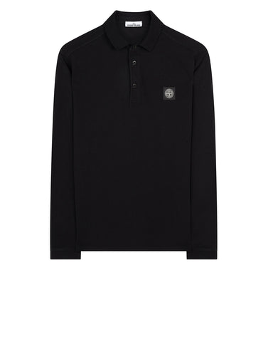 22018 Stretch Cotton Long Sleeve Polo Shirt in Black