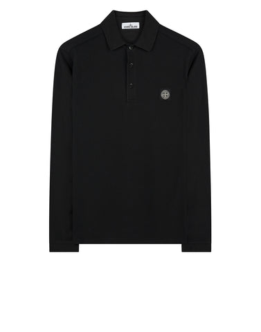 22018 Stretch Cotton Long Sleeve Polo Shirt in Dark Forest