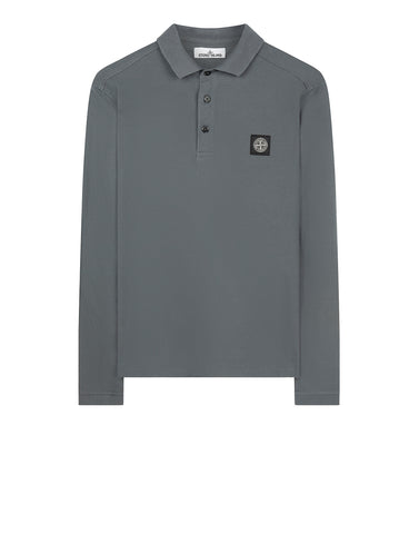 22018 Stretch Cotton Long Sleeve Polo Shirt in Grey