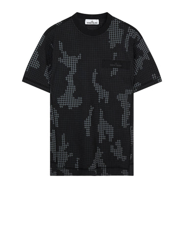 230E1 SI CHECK GRID CAMO T-Shirt in Black