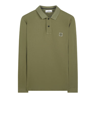 2CC15 Cotton Pique Long Sleeve Polo Shirt in Sage