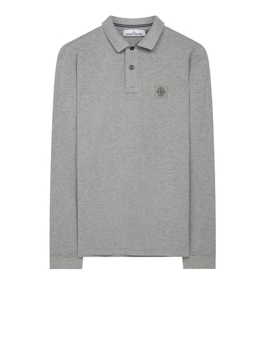 2CC15 Cotton Pique Long Sleeve Polo Shirt Grey