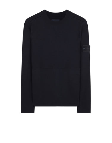 576D3 GHOST PIECE Crew Neck Wool Knit in Navy
