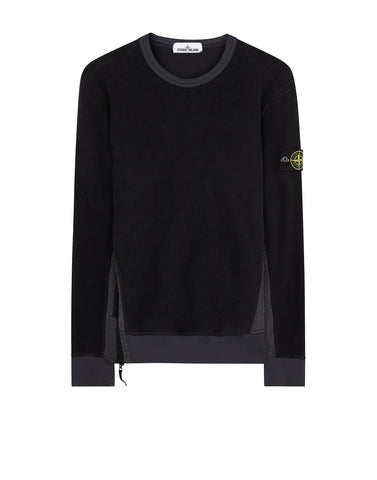 61338 Gauzed Nylon Mix Crew Neck in Black