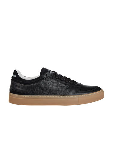 S0260 Leather Tennis Sneakers in Black