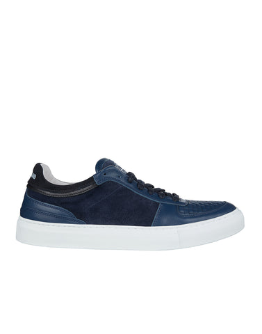S0263 Quilted Leather Sneakers in Blue