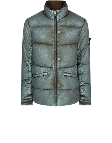 40502 DOWN JACKET WITH ARTICULATION TUNNELS in Green