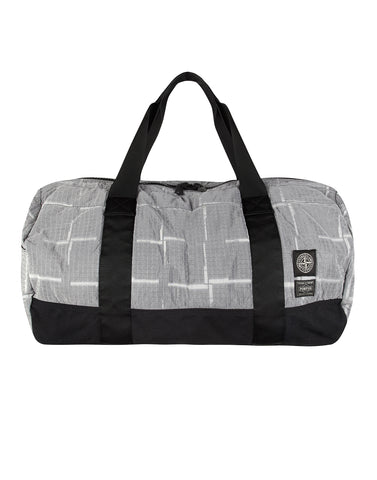 913P1 STONE ISLAND/PORTER HOUSE CHECK NYLON METAL Duffle Bag in Grey