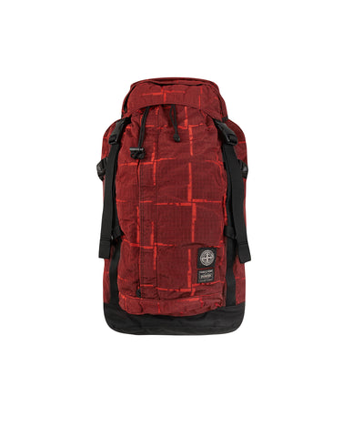 914P1 STONE ISLAND/PORTER HOUSE CHECK NYLON METAL Backpack in Red