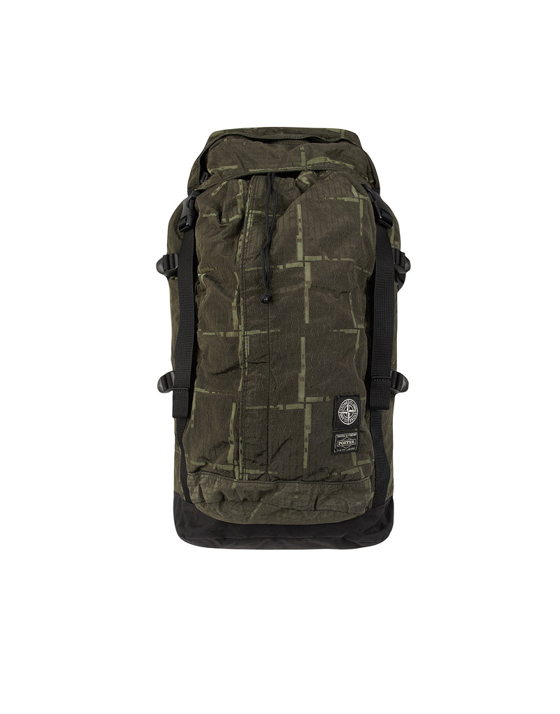 914P1 STONE ISLAND/PORTER HOUSE CHECK NYLON METAL Backpack in Green