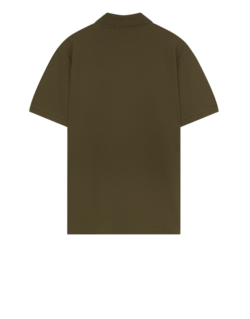 22C15 Cotton Pique Polo Shirt in Military Green