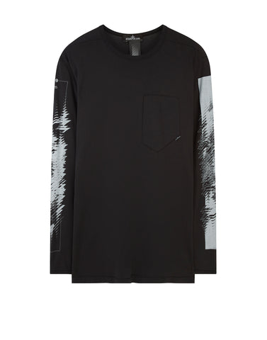 20210 PRINTED LS CATCH POCKET-T 1 T-Shirt in Black
