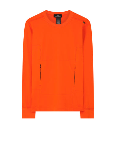 60107 FLANK POCKET CREWNECK SWEATSHIRT in Orange