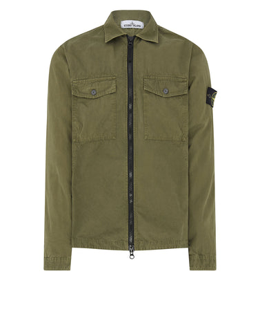 107WN Cotton Rep OLD Effect Overshirt in Olive