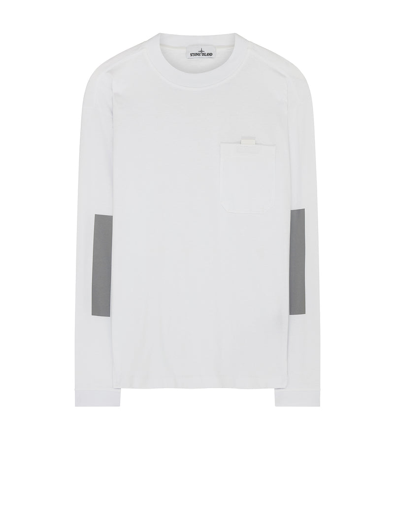 20244 Reflective Tape Panel Long Sleeve T-Shirt in White