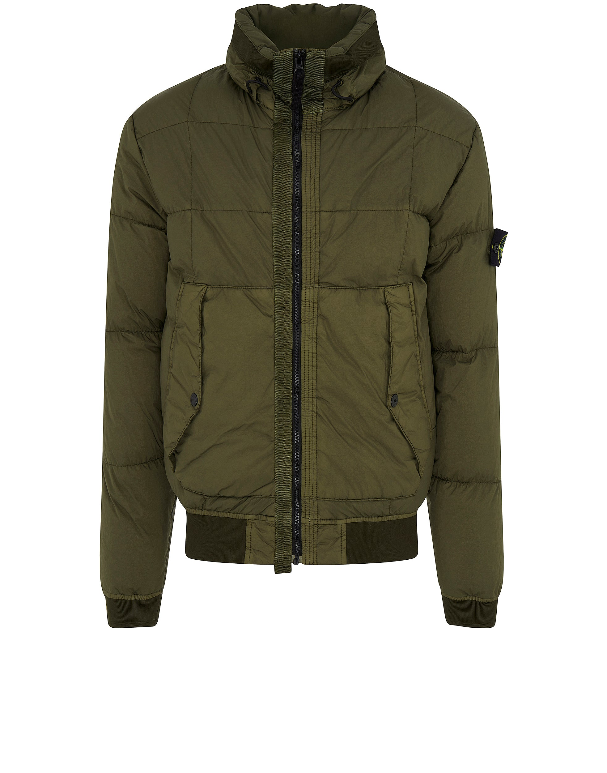 40423 GARMENT-DYED MICRO YARN DOWN Jacket in Olive