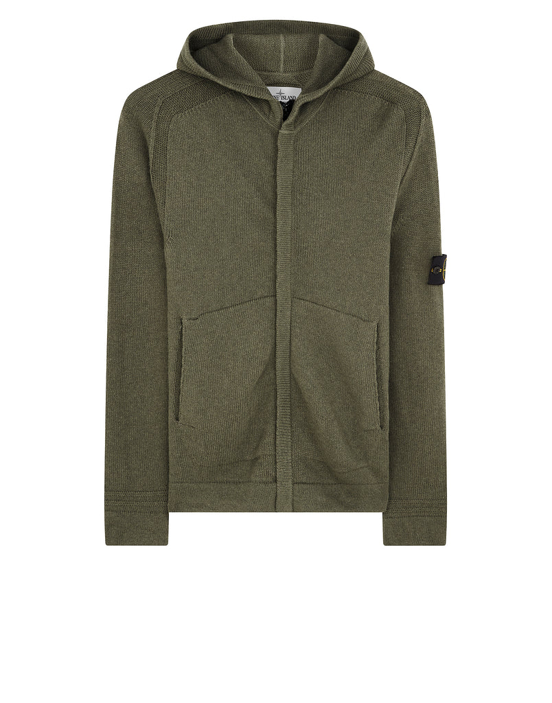 528A3  Hooded Zip Knit in Olive